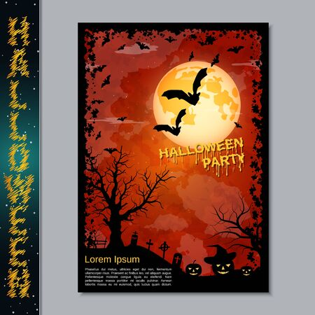 Halloween night flyer, booklet,  poster, invitation card vector design template Banque d'images - 128514697