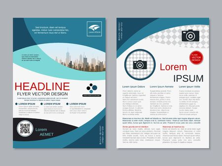 Modern business two-sided flyer, booklet, brochure cover vector design template. A4 format Banque d'images - 128514809