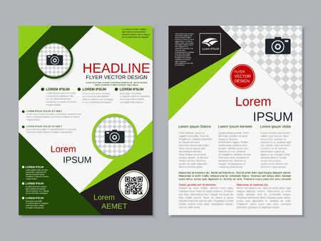 Modern business two-sided flyer, booklet, brochure cover vector design template. A4 format Banque d'images - 128514806