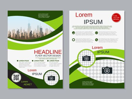 Modern business two-sided flyer, booklet, brochure cover vector design template. A4 format Banque d'images - 128514811
