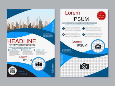 Modern business two-sided flyer, booklet, brochure cover vector design template. A4 format Banque d'images - 128514807