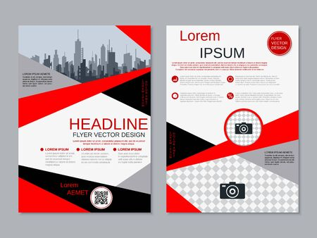 Modern business two-sided flyer, booklet, brochure cover vector design template. A4 format Banque d'images - 128514817
