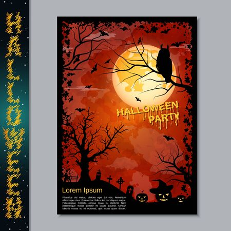 Halloween night flyer, booklet,  poster, invitation card vector design template. A4 size Banque d'images - 128514819