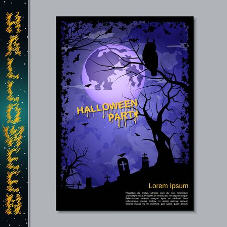 Halloween night flyer, booklet,  poster, invitation card vector design template. A4 size