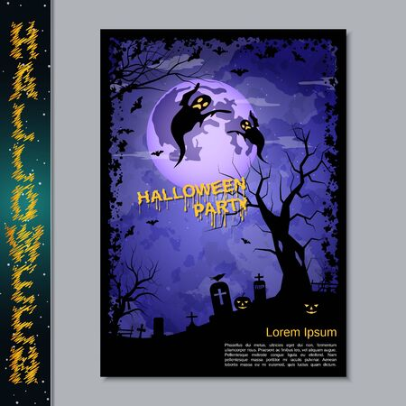 Halloween night flyer, booklet,  poster, invitation card vector design template. A4 size Banque d'images - 128514823