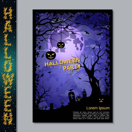 Halloween night flyer, booklet,  poster, invitation card vector design template. A4 size Banque d'images - 128514824