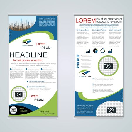 Modern roll-up business banners, two-sided flyer vector design template Banque d'images - 128514907