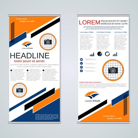Modern roll-up business banners, two-sided flyer vector design template Banque d'images - 128514915