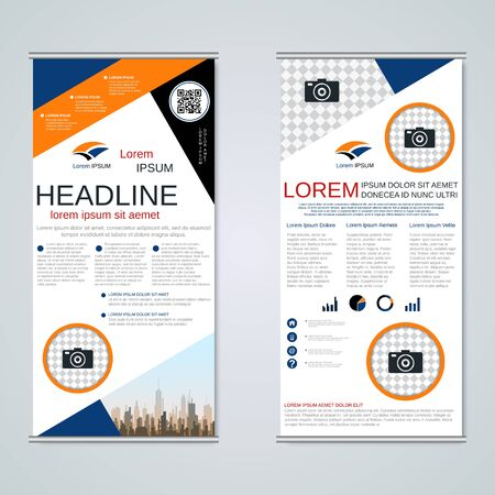 Modern roll-up business banners, two-sided flyer vector design template Banque d'images - 128514916