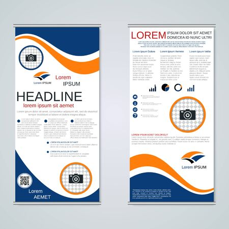 Modern roll-up business banners, two-sided flyer vector design template Banque d'images - 128514912