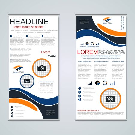 Modern roll-up business banners, two-sided flyer vector design template Stock Illustratie