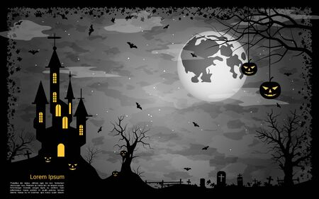Halloween scary night vector background