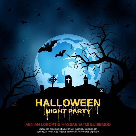 Halloween scary night vector background Vector Illustratie
