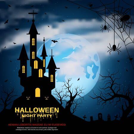 Halloween scary night vector background Vektoros illusztráció