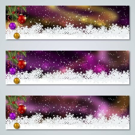 Collezione di modelli di banner vettoriali di lusso colorato di Natale e Capodanno Vettoriali