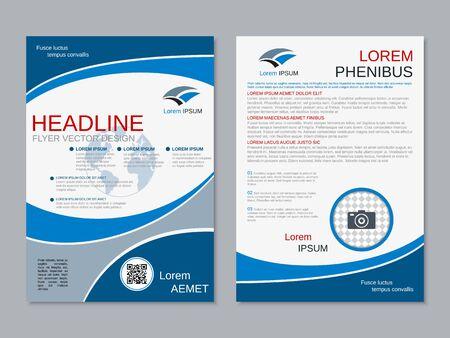 Modern geometric business two-sided flyer, booklet, brochure cover vector design template. A4 format Vektoros illusztráció