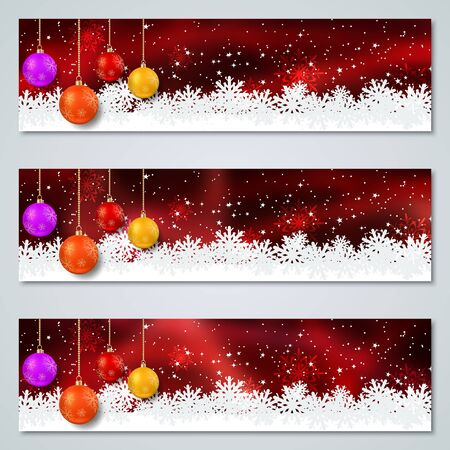 Christmas and New Year luxury colorful vector banners collection