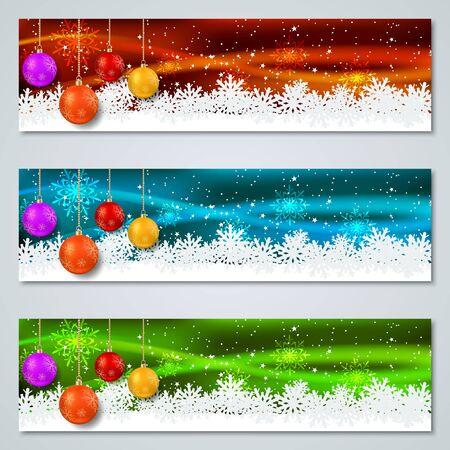Collezione di striscioni vettoriali colorati di lusso di Natale e Capodanno