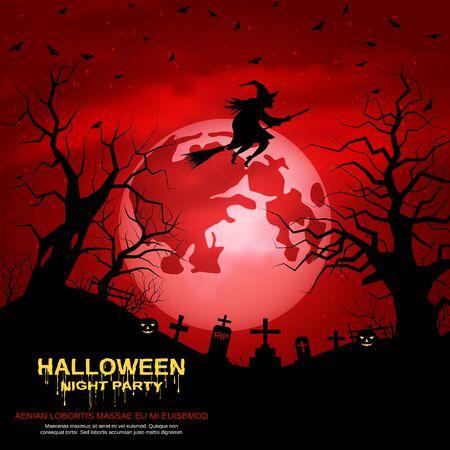 Fondo de vector de noche de miedo rojo de Halloween