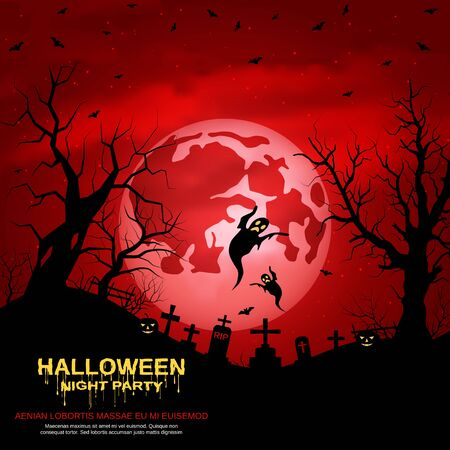 Halloween red scary night vector background Vectores
