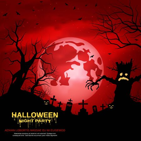 Halloween red scary night vector background Stock Illustratie
