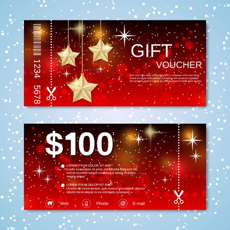 Christmas and New Year discount coupon, gift voucher vector template 向量圖像