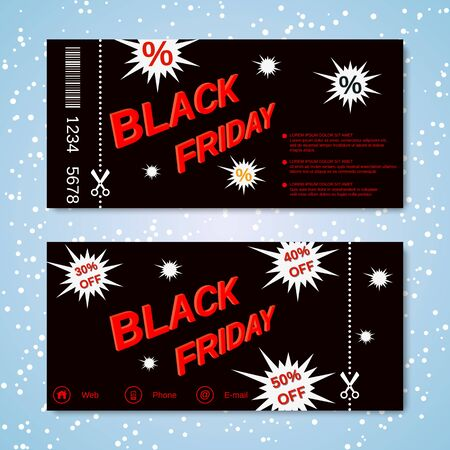 Black Friday discount coupon, gift voucher vector template