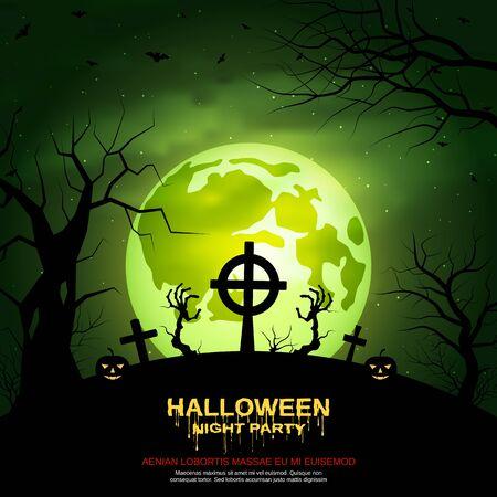 Halloween beängstigend Nachtvektorhintergrund Vektorgrafik