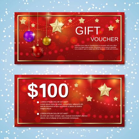 Christmas and New Year discount coupon, gift voucher, invitation card vector template