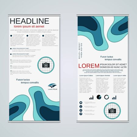 Modern roll-up business banners vector template
