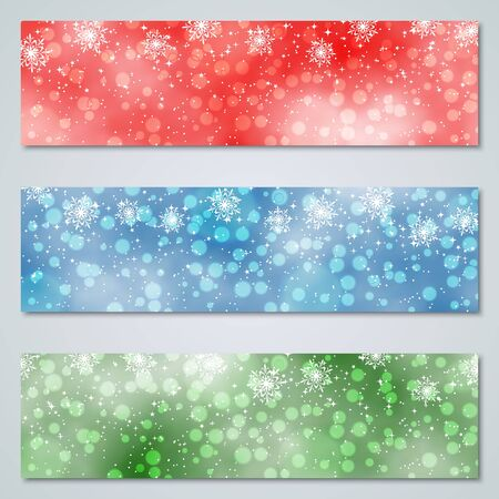 Christmas and New Year luxury colorful vector banners collection Vetores