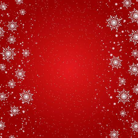 Kerstmis en Nieuwjaar rode vector achtergrond met sterren en sneeuwvlokken