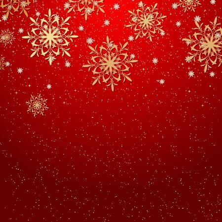 Fondo de vector rojo Navidad y año nuevo con estrellas y copos de nieve