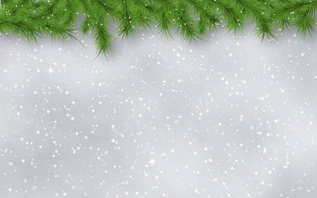 Christmas and New Year blurred vector background with stars, snowflakes and fir tree branches border