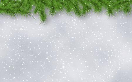 Natale e Capodanno sfocato sfondo vettoriale con stelle, fiocchi di neve e bordo di rami di abete