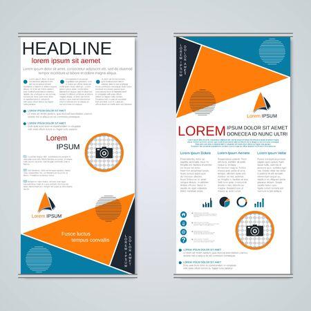 Bannières commerciales enroulables modernes, conception vectorielle de flyer recto-verso