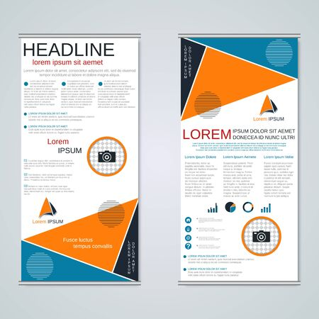 Modern roll-up business banners, two-sided flyer vector design