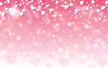Valentine's Day pink blurred vector background with hearts Vektorové ilustrace
