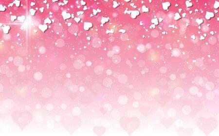 Valentinstag rosa unscharfer Vektorhintergrund mit Herzen Vektorgrafik