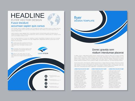 Modern geometric business two-sided flyer, booklet, brochure cover vector design template. A4 format