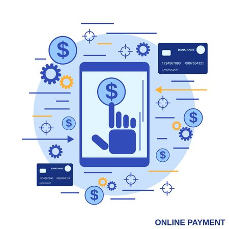 Online payment, money transfer, financial transaction flat design style vector concept illustration