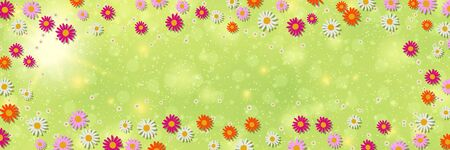 Spring banner vector design template. Green blurred background with flowers and bokeh effect
