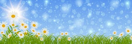 Spring banner vector design template. Blue sky background with flowers and bokeh effect Ilustrace