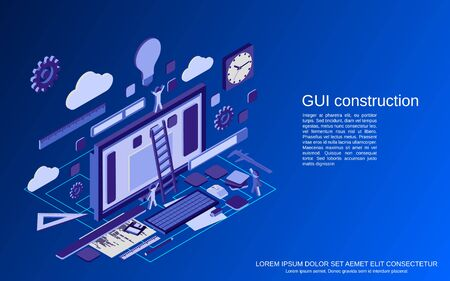 Graphic user interface construction, application development, website design flat isometric vector concept illustration