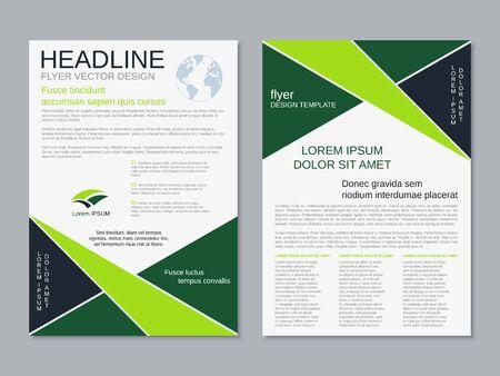 Modern geometric business two-sided flyer, booklet, brochure cover vector design template Vektorgrafik