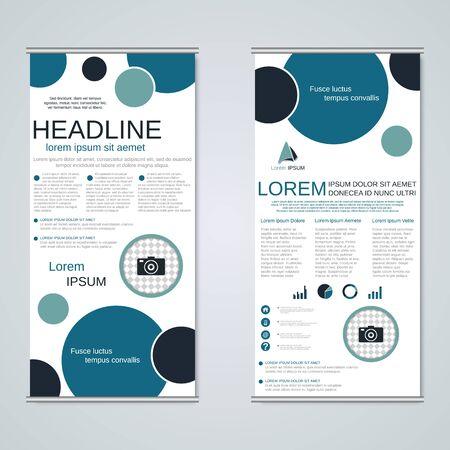Banners de negocios enrollables geométricos modernos, plantilla de diseño de vector de volante a dos caras