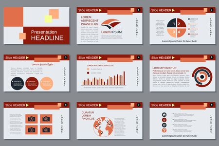 Professional business presentation, slide show, infographic elements, annual report, brochure design Vector Illustration