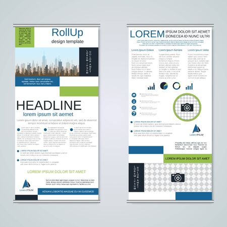 Modern geometric roll-up business banners, two-sided flyer design template