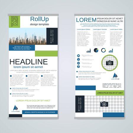 Moderne geometrische Roll-up-Business-Banner, zweiseitige Flyer-Design-Vorlage