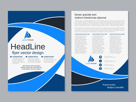 Modern business two-sided flyer, booklet, brochure cover vector design template Çizim